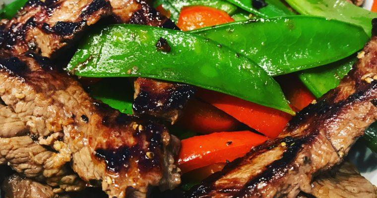 Steakstreifen mit Zuckerschoten